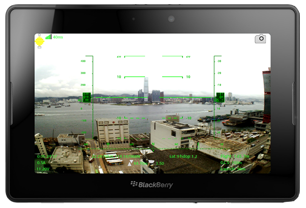 BlackBerry PlayBook with Sky Drone FPV Groundstation Software